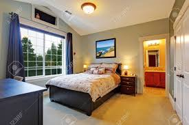 Master Bedroom With Bathroom by Master Bedroom Interior With Big French Window Vaulted Ceiling