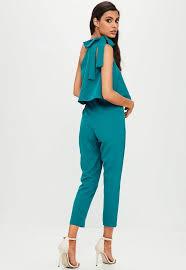 teal jumpsuit blue one shoulder bow jumpsuit missguided
