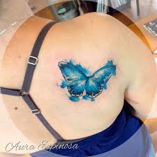 watercolor blue butterfly on right back shoulder for