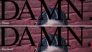 kendrick lamar u2013 damn album cover fonts in use