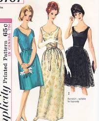 60s classic evening wedding party dress pattern simplicity 5707