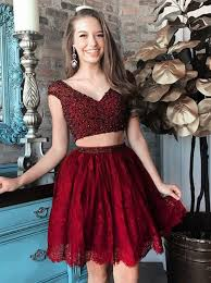 Black Homecoming Dresses With Sleeves Buy Two Piece V Neck Cap Sleeves Short Burgundy Lace Homecoming
