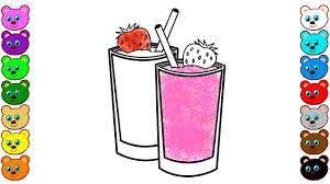 learn colors for kids with yogurt cocktail and strawberry