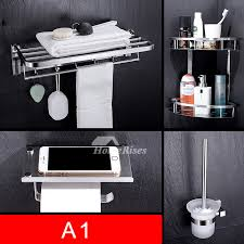 4 piece stainless steel chrome bathroom accessories set