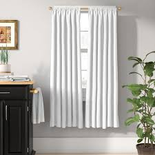 Shower Curtain With Pockets Charlton Home Columbia Solid Blackout Thermal Rod Pocket Single