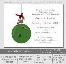 Christmas Ornament Party Invitations - printable green bowling ball ornament christmas bowling event