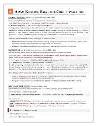 Executive Resumes Samples by Award Nominated Executive Chef Sample Resume Executive Resume