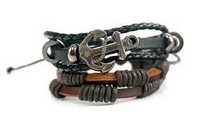 leather metal bracelet images Streetsoul anchor bracelet black leather metal wrist band for men jpg