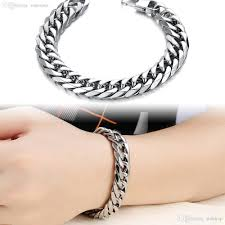stainless silver bracelet images Wholesale fashion 14mm wide surface silver stainless steel jpg