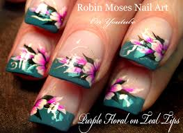 diy easy flowers on french tips nail art design tutorial youtube