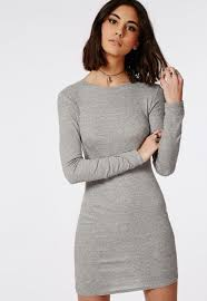 grey bodycon dress missguided sleeve ribbed bodycon dress grey in gray lyst