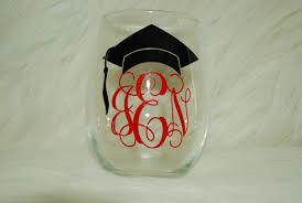 graduation wine glasses monogrammed graduation cap wineglass monogrammed wine