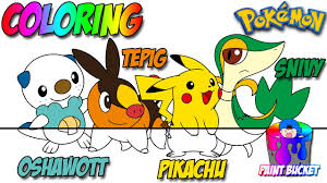 pokemon coloring pages oshawott tepig snivy and pikachu