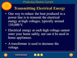 transmitting electrical energy producing electric current when the