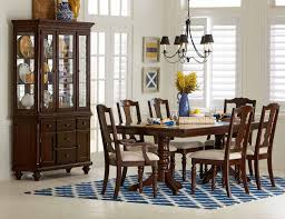 Cherry Wood Dining Room Set by Homelegance Glendive Double Pedestal Dining Table With Leaf