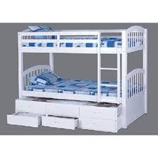 Bunk Bed Trundle Max U Lily Solid Wood Twin Over Twin Bunk - White bunk bed with drawers
