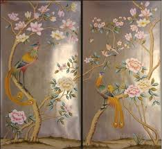 luxurious hand painted gold foil wallpaper painting flowers with