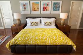 mid century modern bedroom with yellow sheets founterior