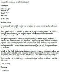 transport coordinator cover letter example learnist org