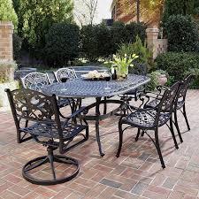 shop home styles biscayne 7 piece black aluminum patio dining set