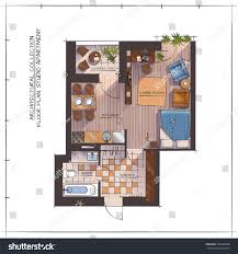 architectural color floor plan one bedroom stock vector 522249028
