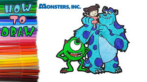 monsters draw mike sulley boo learn draw