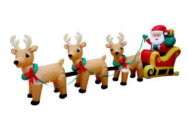 santa and reindeer bzb goods christmas santa claus on sleigh with three