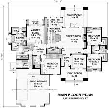 craftsman style house plan 4 beds 3 baths 2372 sq ft plan 51