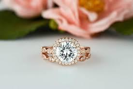 Halo Wedding Rings by Rose 2 25 Ctw Halo Bridal Set Art Deco Wedding Rings Man Made
