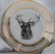 gold deer reindeer plates dinnerware dishes customized