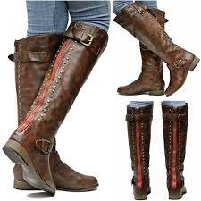 womens boots knee high womens fl42 brown zipper studded knee high boots sz