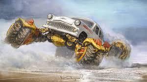 monster truck shows uk kazakh artist reimagines soviet cars as post apocalyptic monster