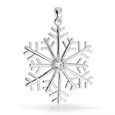 round cz solitaire sterling silver snowflake pendant