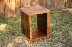 wood cube end table attractive cube end table regarding arbor exchange reclaimed wood