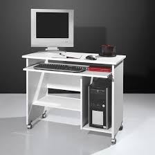 Compact Computer Desk Compact Computer Trolley In White With Rollers 6211
