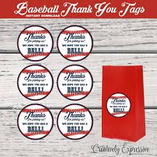 baseball party supplies baseball party baseball thank you tags baseball party favor