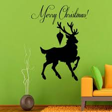 high quality silhouette christmas decorations buy cheap silhouette running reindeer silhouette wall sticker vinyl christmas art decoative wall mural merry christmas quote home decor