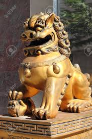 asian lion statues imperial lion statue symbol of protection power in stock
