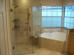 Bathroom Glass Shower Ideas by Corner Tub W Larger Walk In Shower Do Not Like The Wall Next To