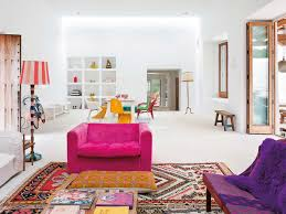 mediterranean style living room with a touch of pop art colors