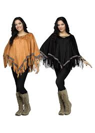 60s Halloween Costumes 60s Native American Faux Suede Poncho Indian Costumes