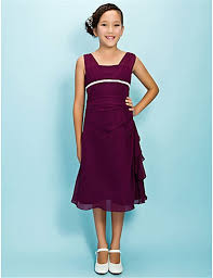 sheath straps tea length long purple chiffon junior bridesmaid dress