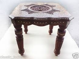 sheesham wood solid square table with brass fitted sheesham wood carved brass inlaid taj mahal table side stool