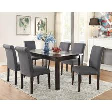 Esofastore Blue Grey Polyfiber Upholstered Side Chairs Dining - Grey dining room chairs