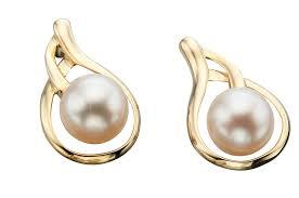 teardrop stud earrings pearl 9ct yellow gold suspended teardrop stud earrings ge832w