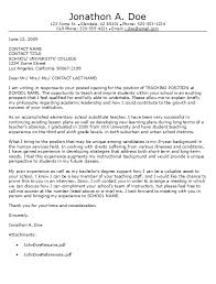 elementary school cover letter general cover letter education