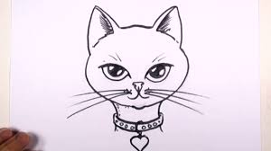 how to draw a cat face with collar and heart pendant mat youtube