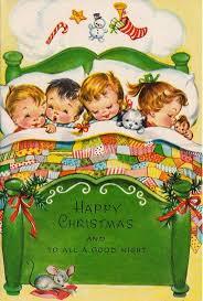 vintage unused bed full of sleeping children u0026 mouse christmas