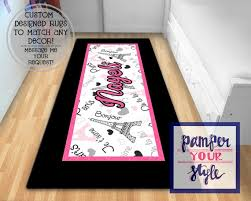 Pink And Black Rugs Personalized Area Rugs Paris Personalized Area Rug Black And Pink