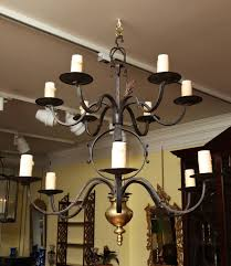 Forged Chandeliers Two Tier Forged Iron And Brass Twelve Light Chandelier 19th